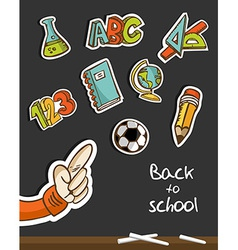 Back to School icons and hand on blackboard vector