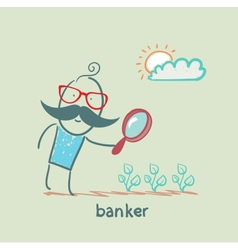 Banker is looking through a magnifying glass on vector