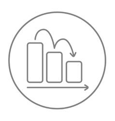 Bar chart down line icon vector image