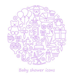 bashower line icons in form a circle vector image