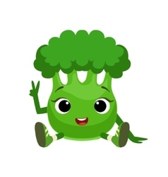 Big Eyed Cute Girly Broccoli Character Sitting vector