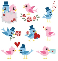 bird valentine set vector image