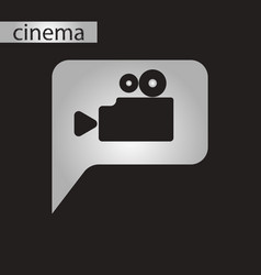 Black and white style icon cinema camera vector