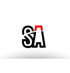 black white alphabet letter sa s a logo icon vector image