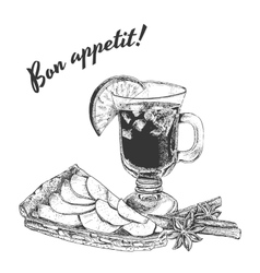 Bon appetit card with apple pie mug mulled vector
