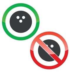 Bowling permission signs set vector image