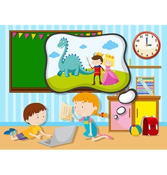 Boy and girl working in the classroom vector