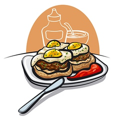 burgers with eggs vector image