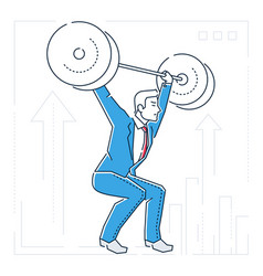 Businessman lifting a heavy bar - line design vector