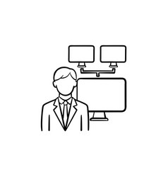 businessman with computer network hand drawn vector image