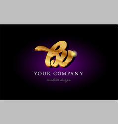 Bv b v 3d gold golden alphabet letter metal logo vector