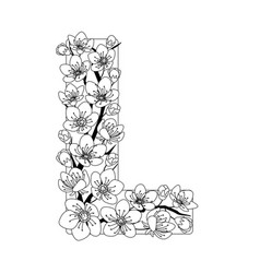 Capital letter l patterned with contour drawn vector
