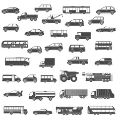 Car black icons set vector