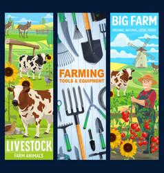 cattle farm animals farmer gardening tools banner vector image