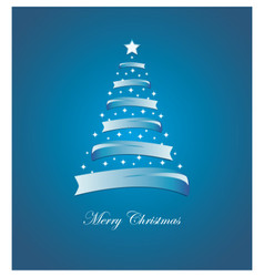 Christmas card with stylized white and blue tree vector image