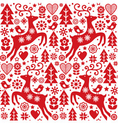 Christmas folk red seamless pattern scandi vector