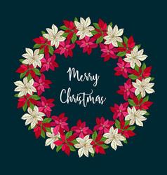 christmas wreath with poinsettia flowers vector image