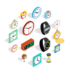 clock icons set in isometric 3d style vector image