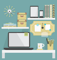 Close up flat modern and trendy working place vector