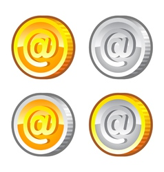 Coins with internet sign vector