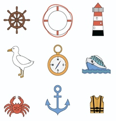 Collection of sea elements vector