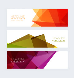 colorful geometric set three headers vector image
