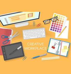 Colorful office workplace top view template vector