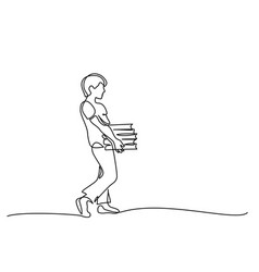 continuous one line drawing boy with books stack vector image