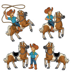 cowgirl and horse set vector image