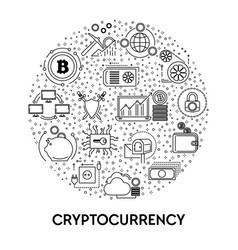 cryptocurrency and blockchain system bitcoin vector image