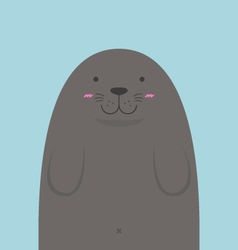 Cute big fat monk seal vector