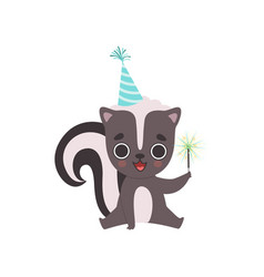 Cute little skunk wearing party hat with magic vector