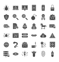 Cyber security solid web icons vector