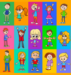 decorative pattern design with kids characters vector image