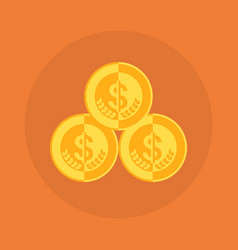 dollar coins stack icon money concept vector image