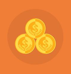 dollar coins stack icon money concept vector image