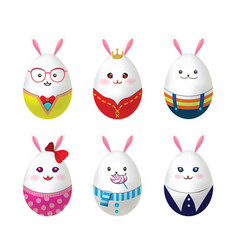 easter rabbit eggs vector image
