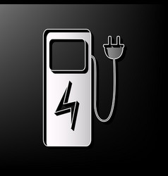 Electric car charging station sign gray vector