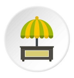 Empty counter with yellow and green umbrella icon vector