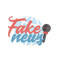 Fake news banner with microphone and globe on vector