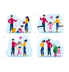 Family leisure activities happy childhood vector