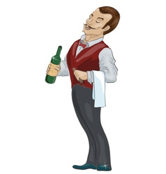 Fancy Waiter Cartoon vector
