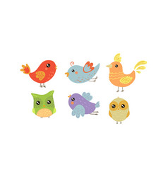 flat set colorful little birds lovely vector image
