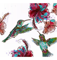 Floral with hibiscus flowers and hummingbirds vector