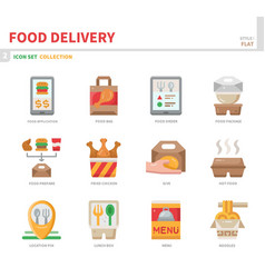 food delivery icon set vector image