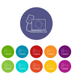 gadgets synchronized operation icon outline style vector image