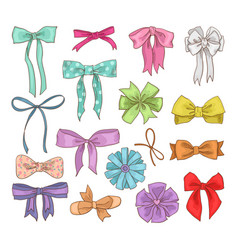 Girls bow girlish bowknot or girlie ribbon vector