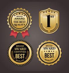 golden badge collection elegant black and vector image