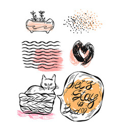 hand drawn graphic set of cat vector image