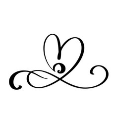 Hand drawn love border flourish heart separator vector